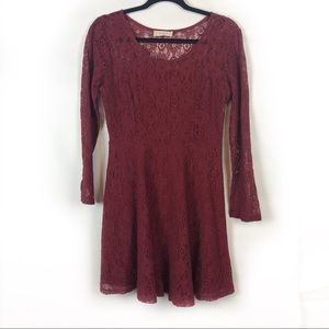 Altar'd State Maroon Lace Long Sleeve Dress